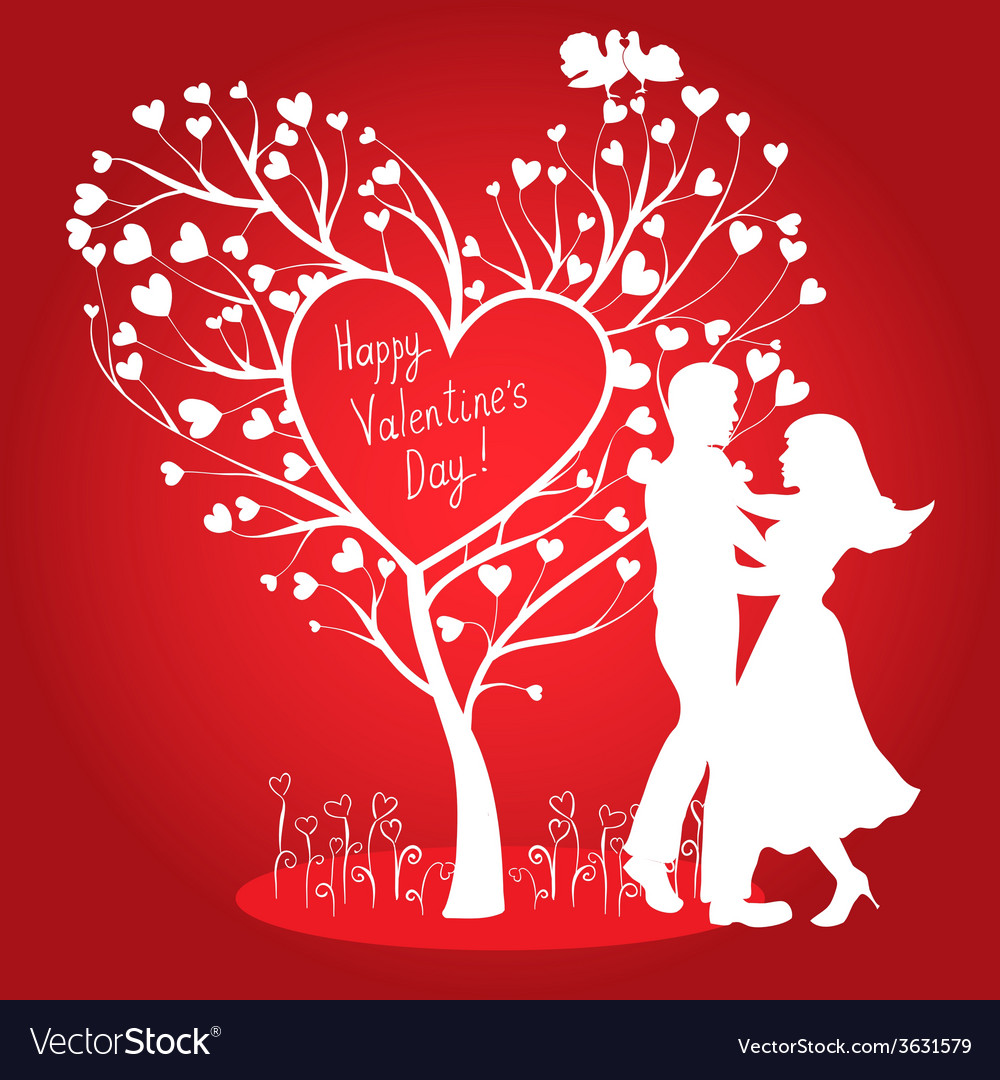 Greating valentines card with dancing couple vector | Price: 1 Credit (USD $1)
