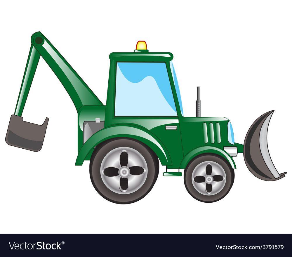 Green tractor excavator vector | Price: 1 Credit (USD $1)