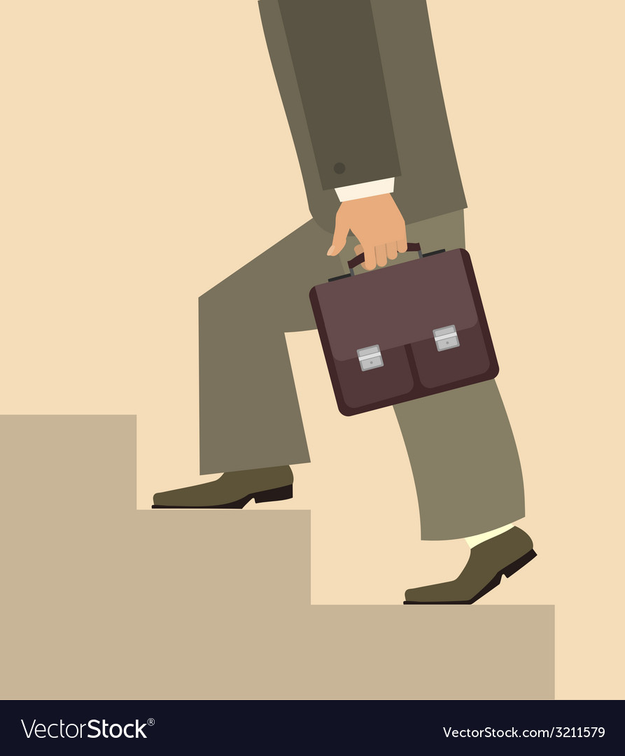 Man with briefcase walking upstairs vector | Price: 1 Credit (USD $1)