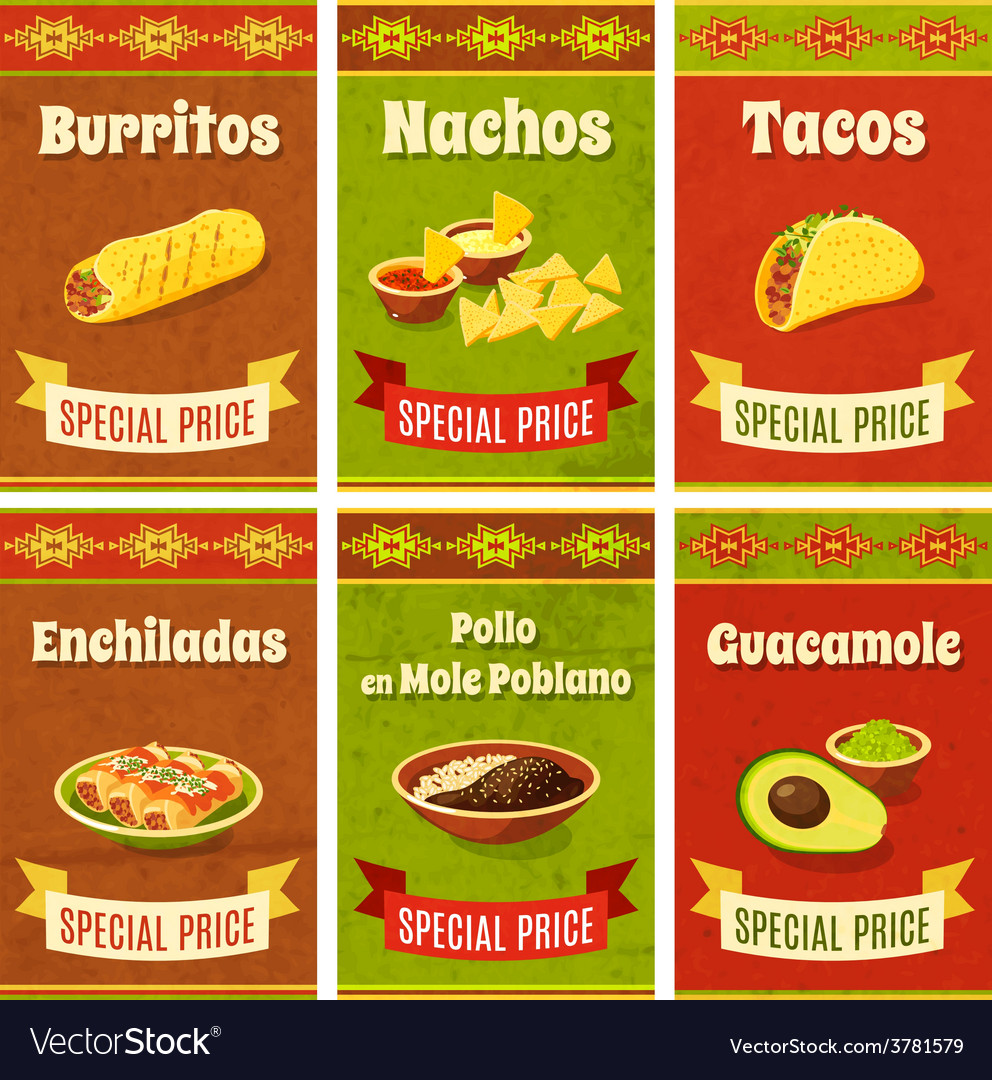 Mexican food poster vector