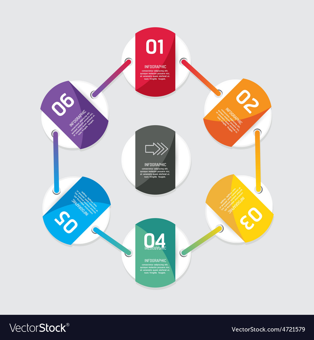 Modern infographics design options circle banner vector | Price: 1 Credit (USD $1)