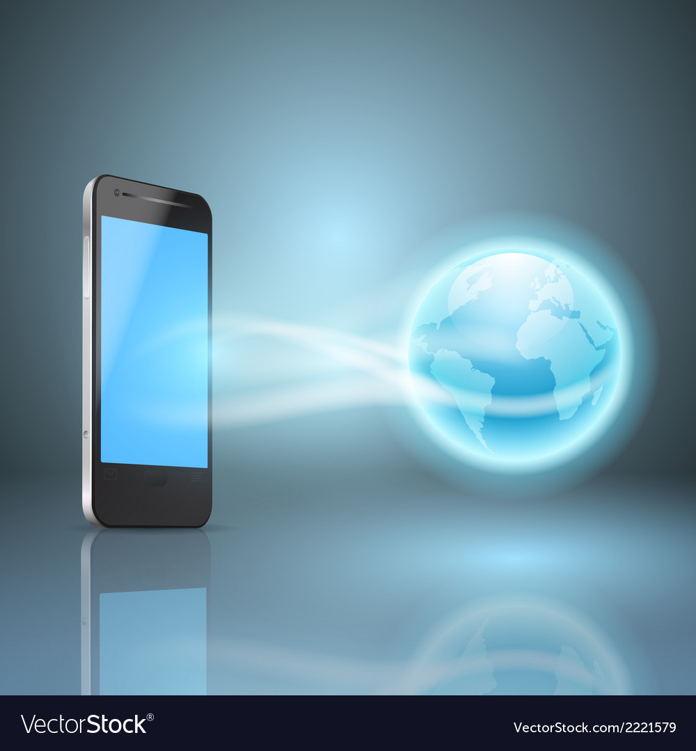 Phone and the globe vector | Price: 1 Credit (USD $1)