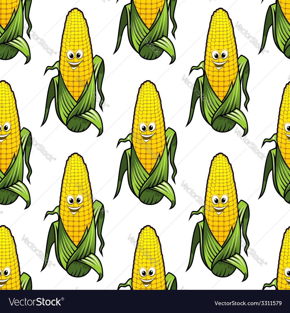Seamless pattern of cartoon corn on the cob vector | Price: 1 Credit (USD $1)