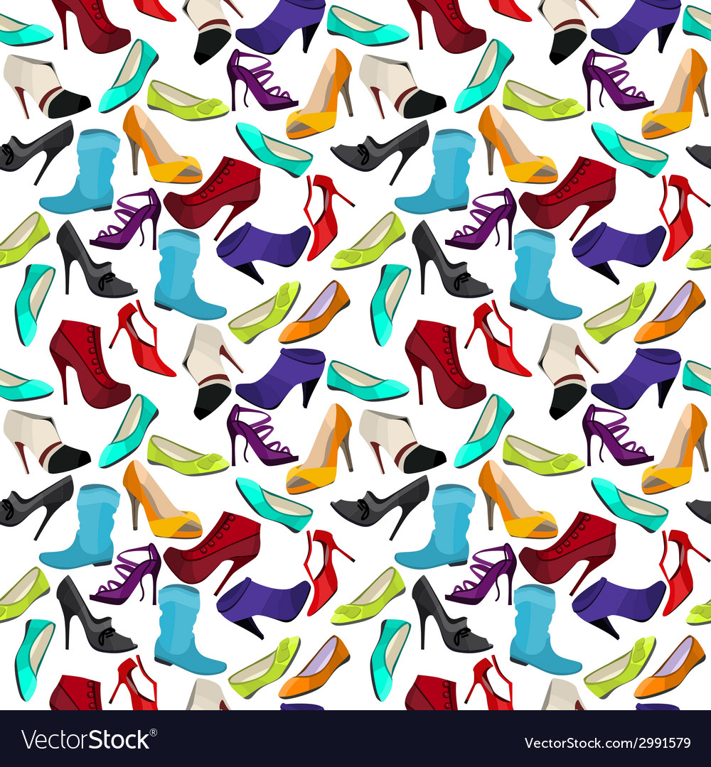 Seamless pattern with different shoes vector | Price: 1 Credit (USD $1)
