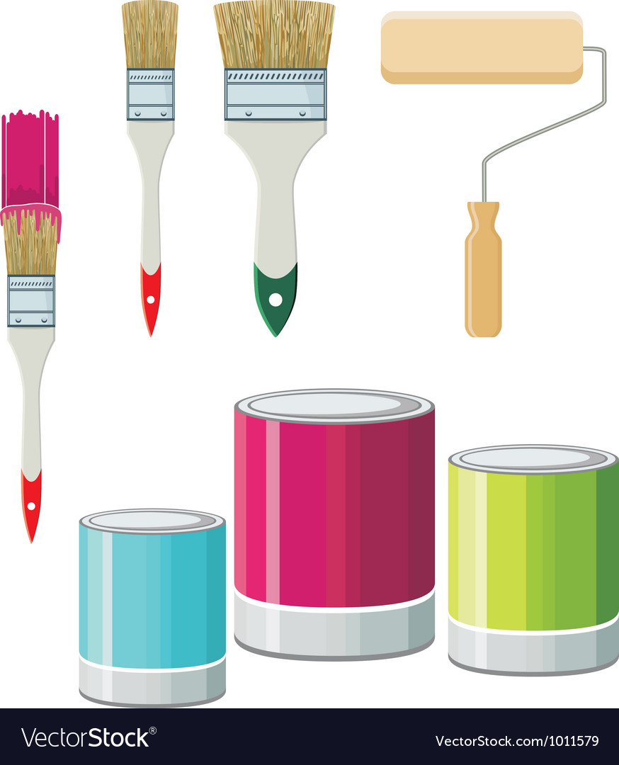 Set of brushes and paints for walls vector | Price: 3 Credit (USD $3)