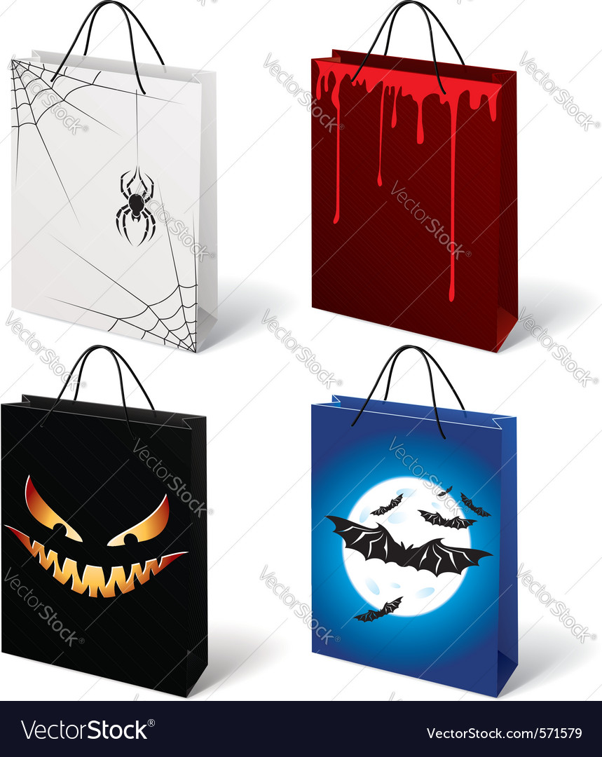 Set of halloween shopping bags vector | Price: 1 Credit (USD $1)