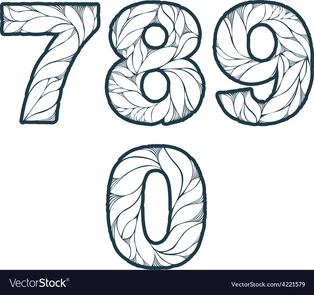 Single color ornate beautiful digits numbers with vector | Price: 1 Credit (USD $1)