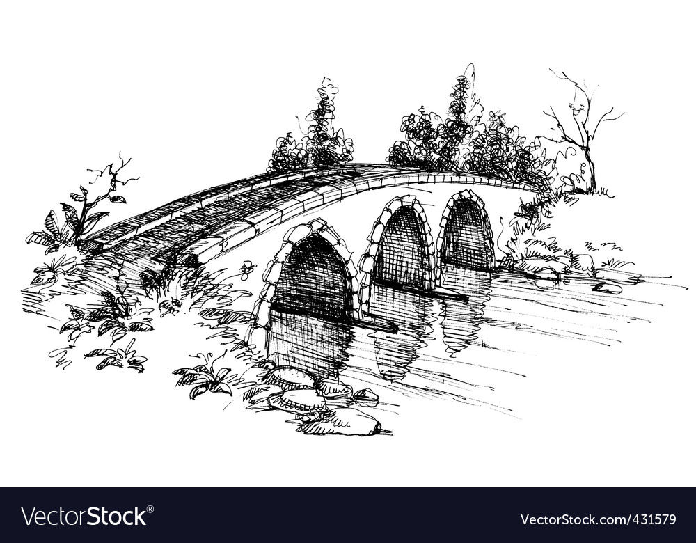 Stone bridge over river sketch vector | Price: 1 Credit (USD $1)