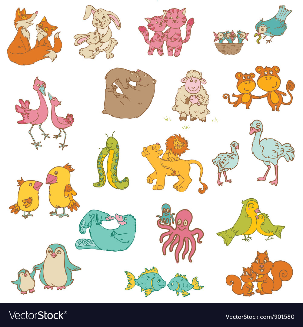 Baby animals with moms vector | Price: 3 Credit (USD $3)