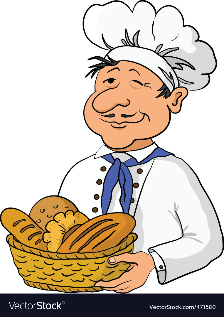 Baker with bread basket vector | Price: 1 Credit (USD $1)