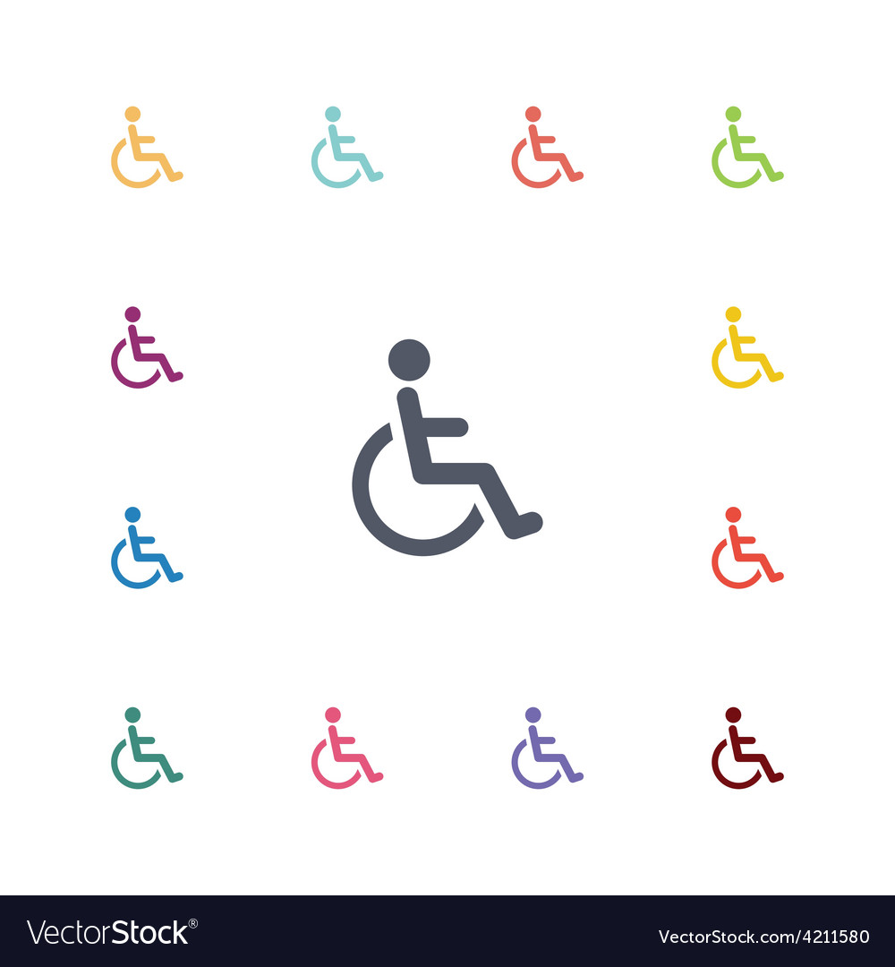 Disabled flat icons set vector | Price: 1 Credit (USD $1)