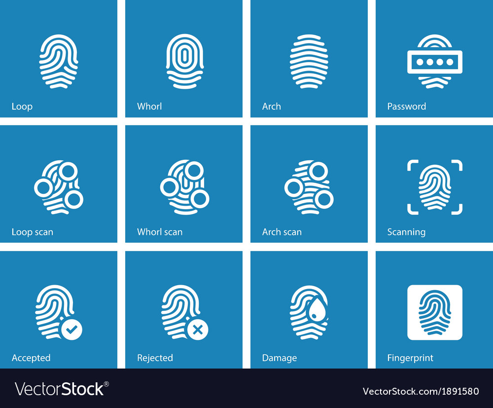 Fingerprint and thumbprint icons on blue vector | Price: 1 Credit (USD $1)