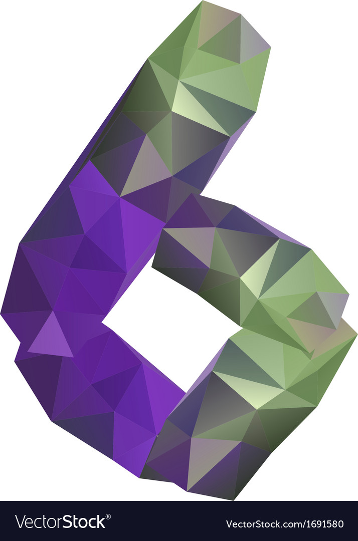 Geometric crystal digit 6 vector | Price: 1 Credit (USD $1)