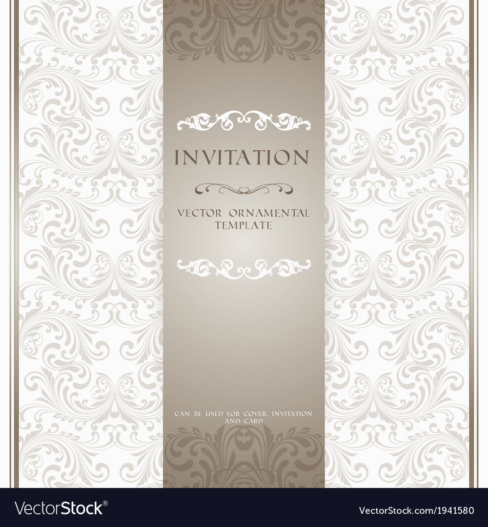 Light beige ornamental invitation card vector | Price: 1 Credit (USD $1)