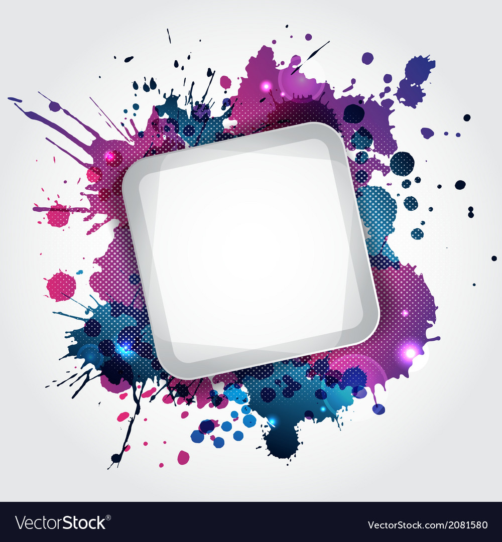 Modern white frame with blue blots vector | Price: 1 Credit (USD $1)
