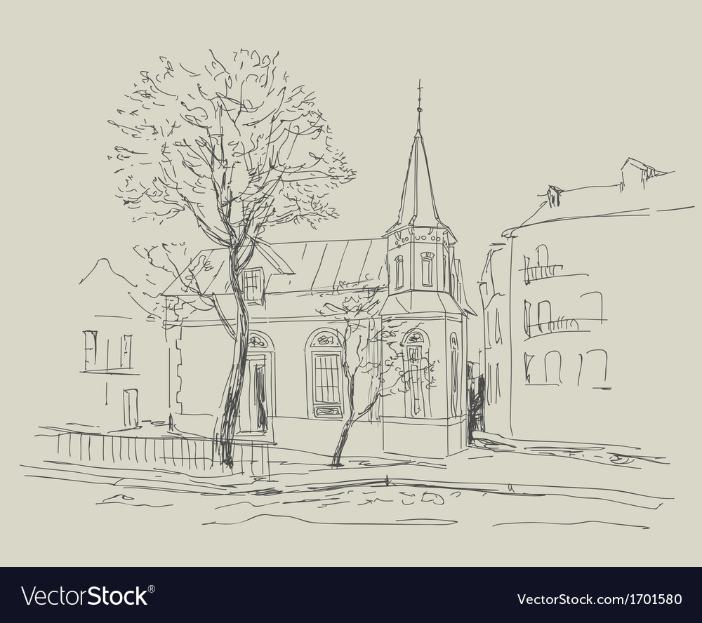 Old city street - sketch vector | Price: 1 Credit (USD $1)