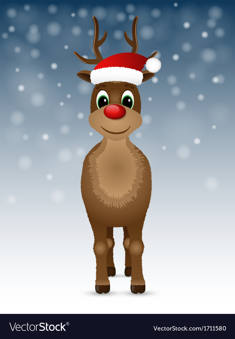 Reindeer with red nose and santa hat vector | Price: 1 Credit (USD $1)