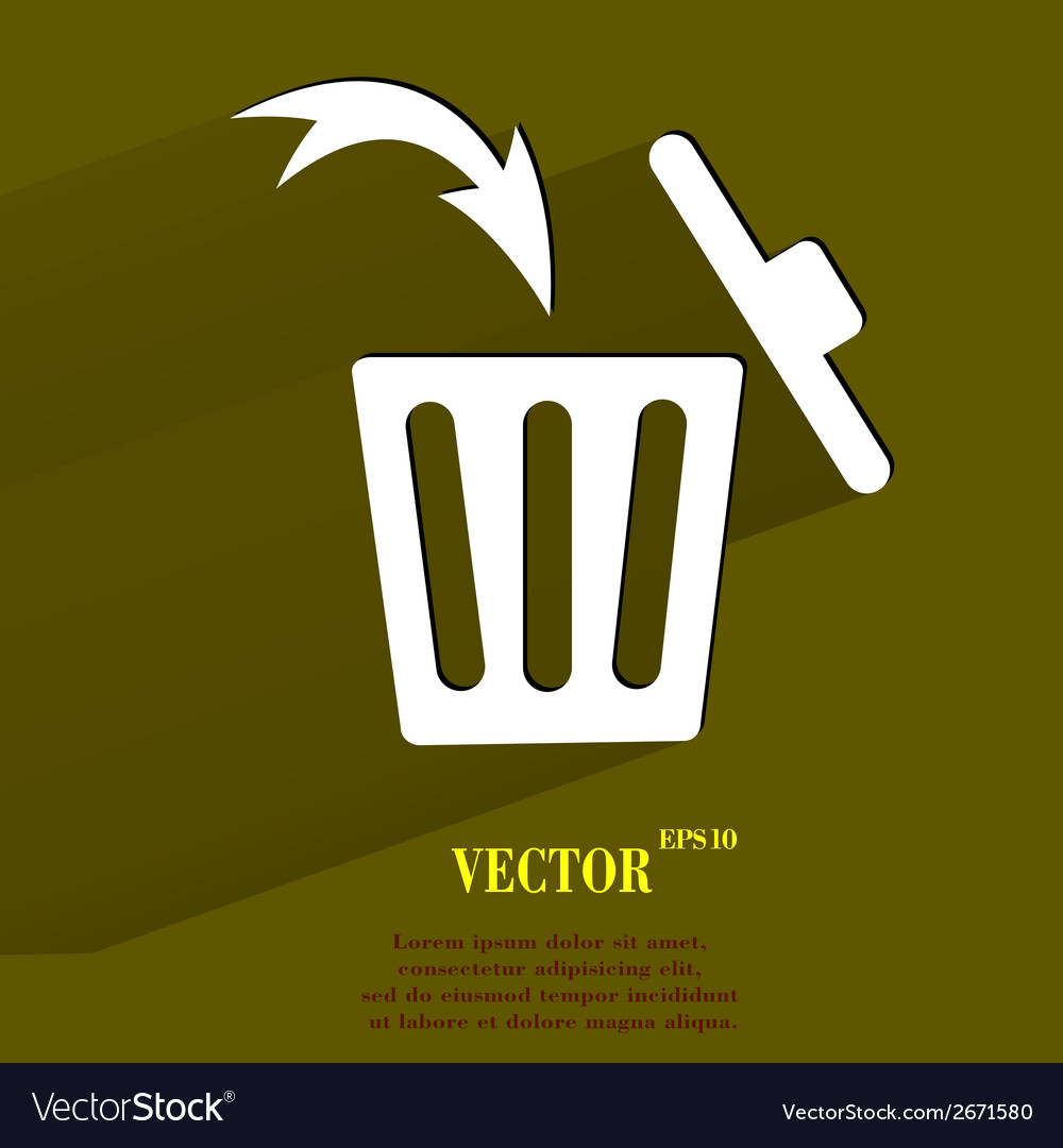 Trash bin flat modern web button with long shadow vector | Price: 1 Credit (USD $1)