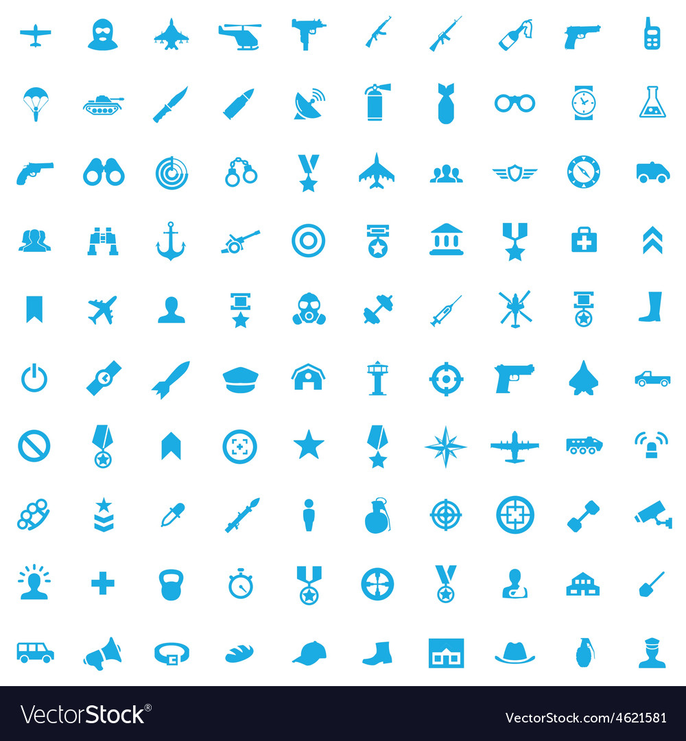 100 army icons vector | Price: 1 Credit (USD $1)