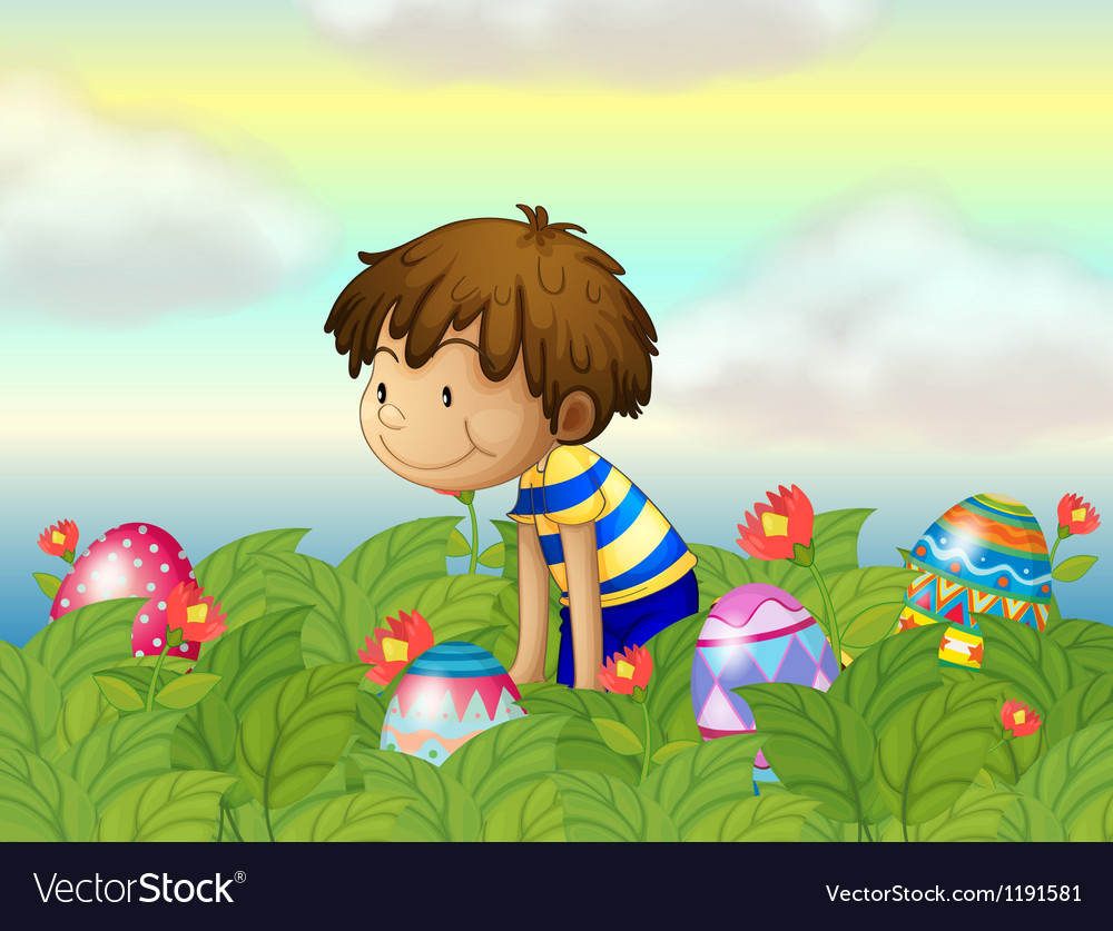 A kid hunting eggs vector | Price: 1 Credit (USD $1)