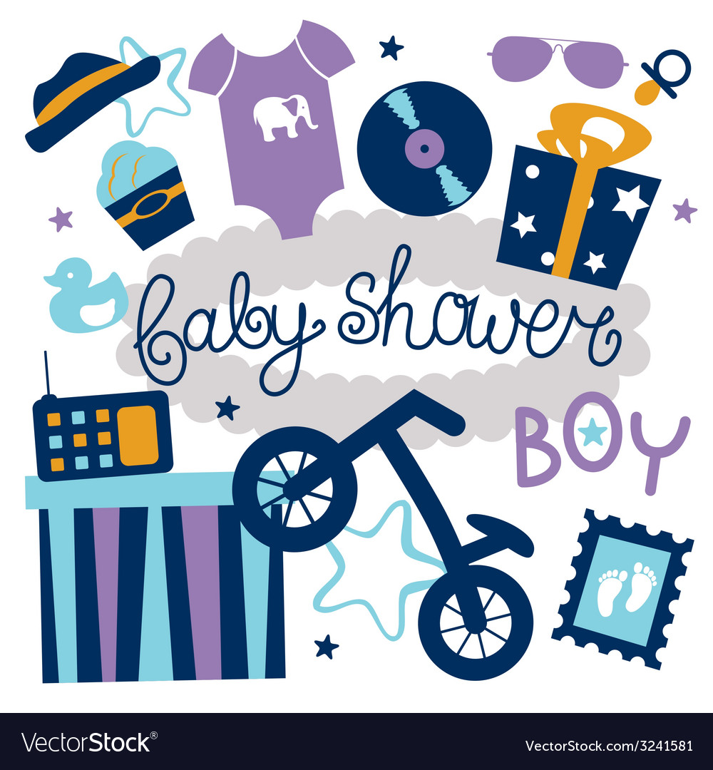 Baby shower set for boy vector | Price: 1 Credit (USD $1)