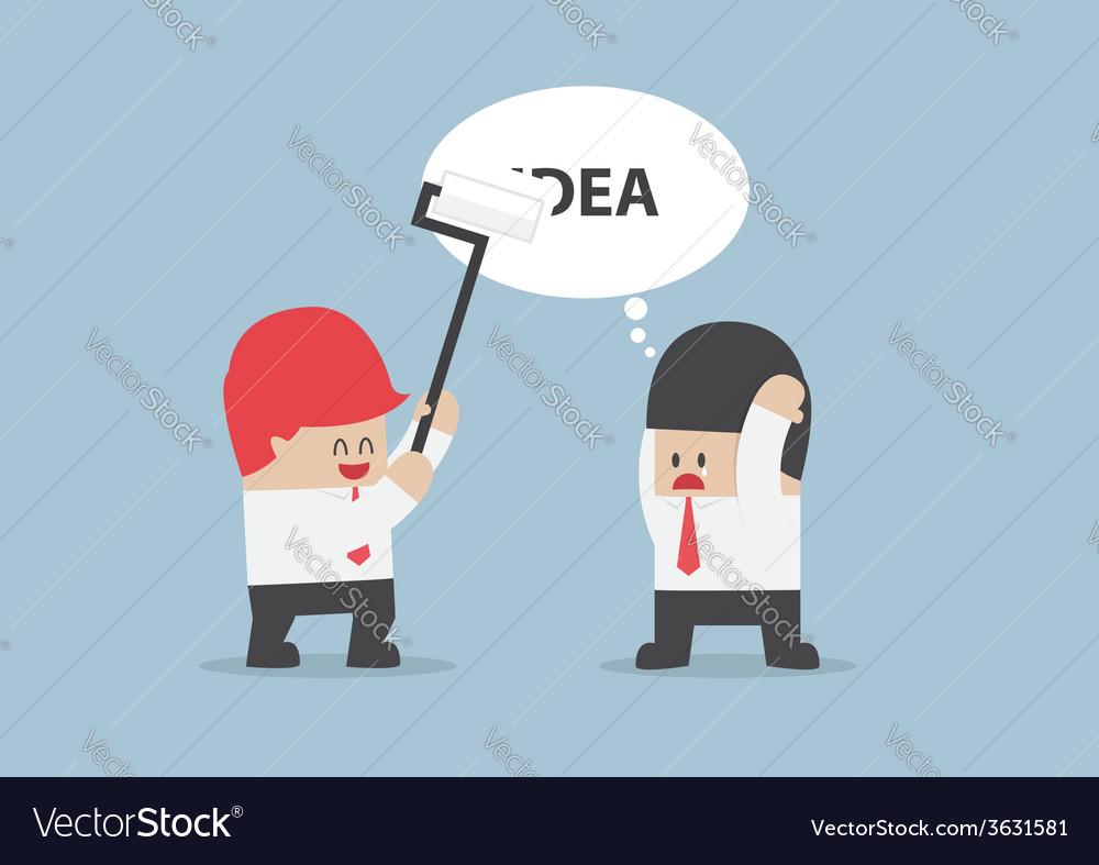 Businessman idea is being erased by his rival vector | Price: 1 Credit (USD $1)