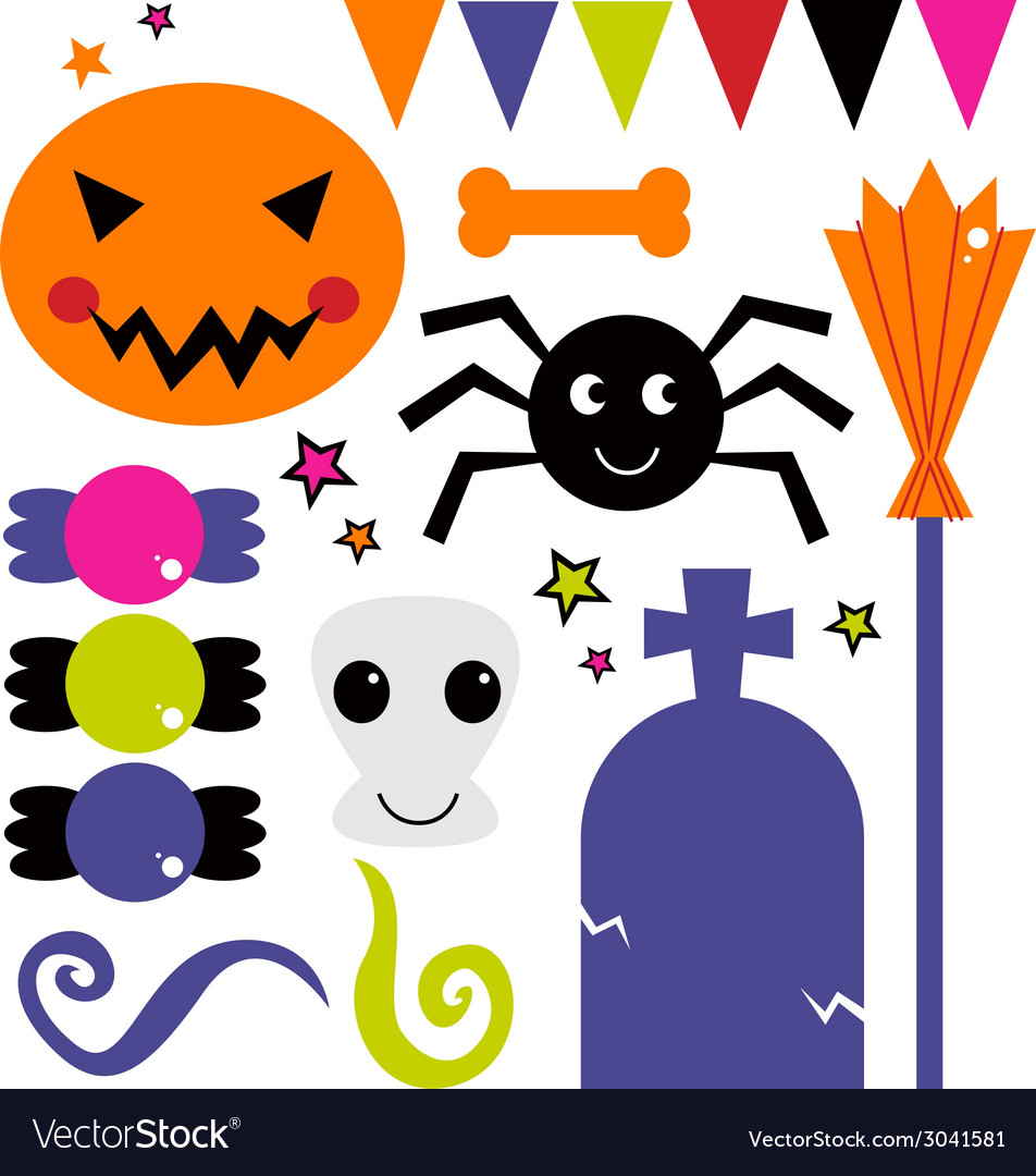 Cute various design elements for halloween vector | Price: 1 Credit (USD $1)