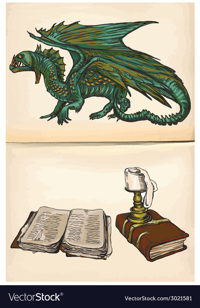 Dragon and books - hand drawings vector | Price: 1 Credit (USD $1)