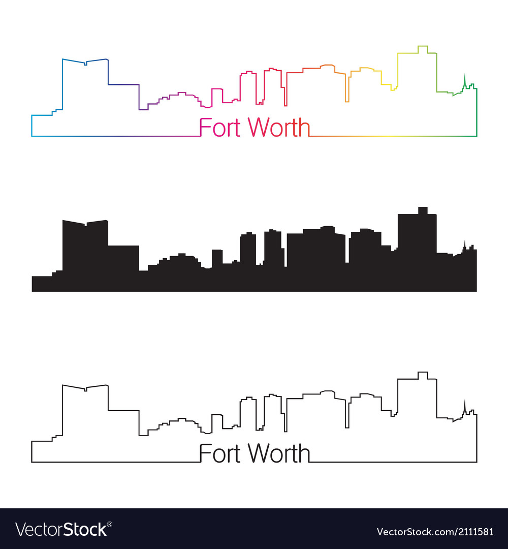 Fort worth skyline linear style with rainbow vector | Price: 1 Credit (USD $1)