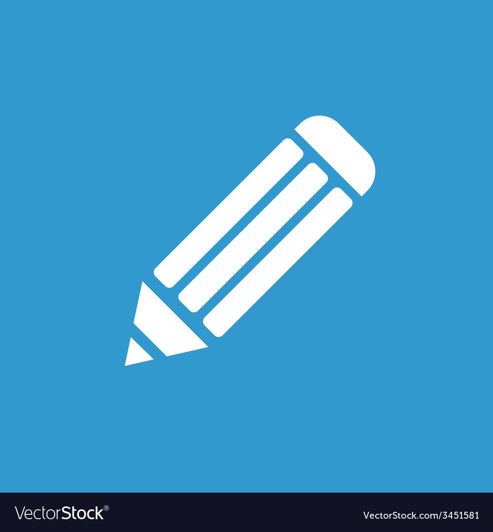 Pencil icon white on the blue background vector | Price: 1 Credit (USD $1)