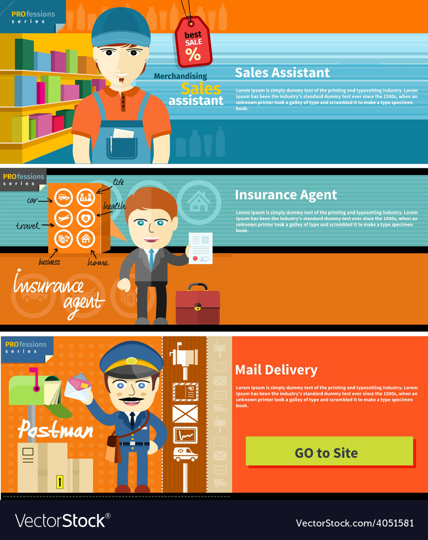 Sales assistant insurance agent and postman vector | Price: 1 Credit (USD $1)