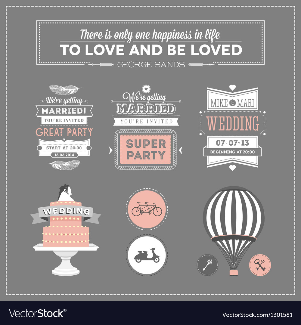 Set of design elements for wedding vector | Price: 1 Credit (USD $1)