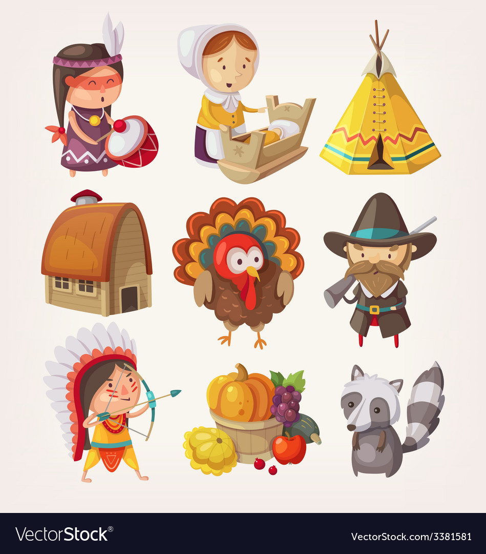 Set of thanksgiving items and characters vector | Price: 3 Credit (USD $3)