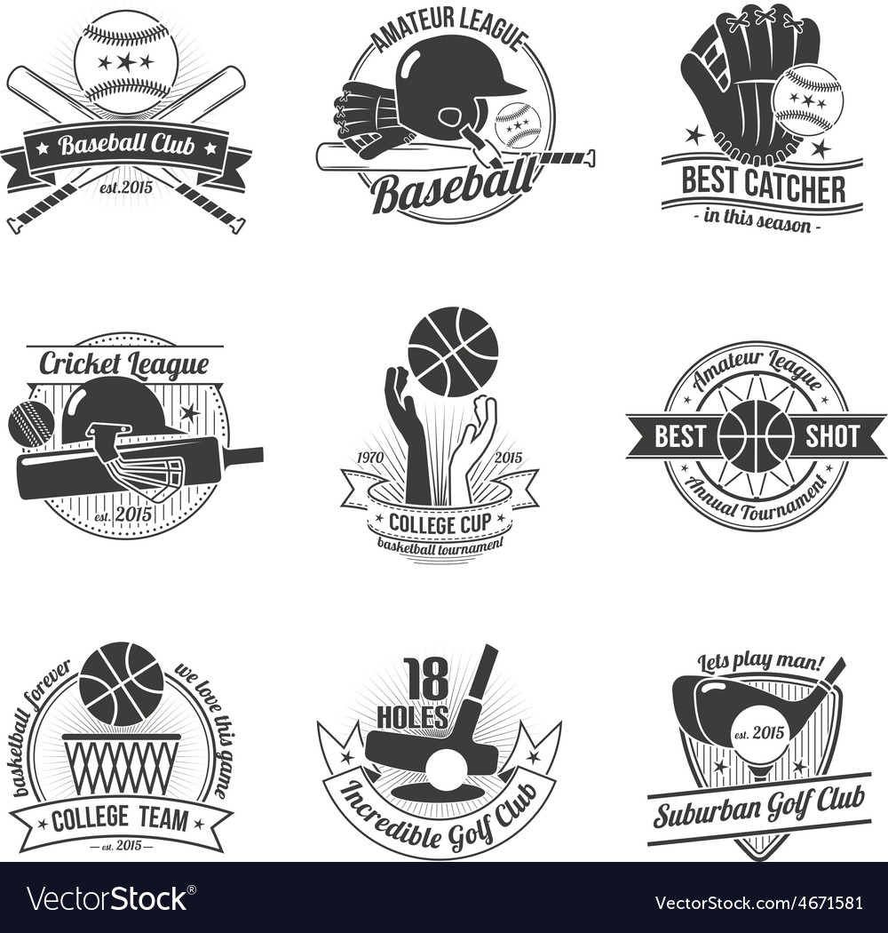 Sport label set vector | Price: 1 Credit (USD $1)