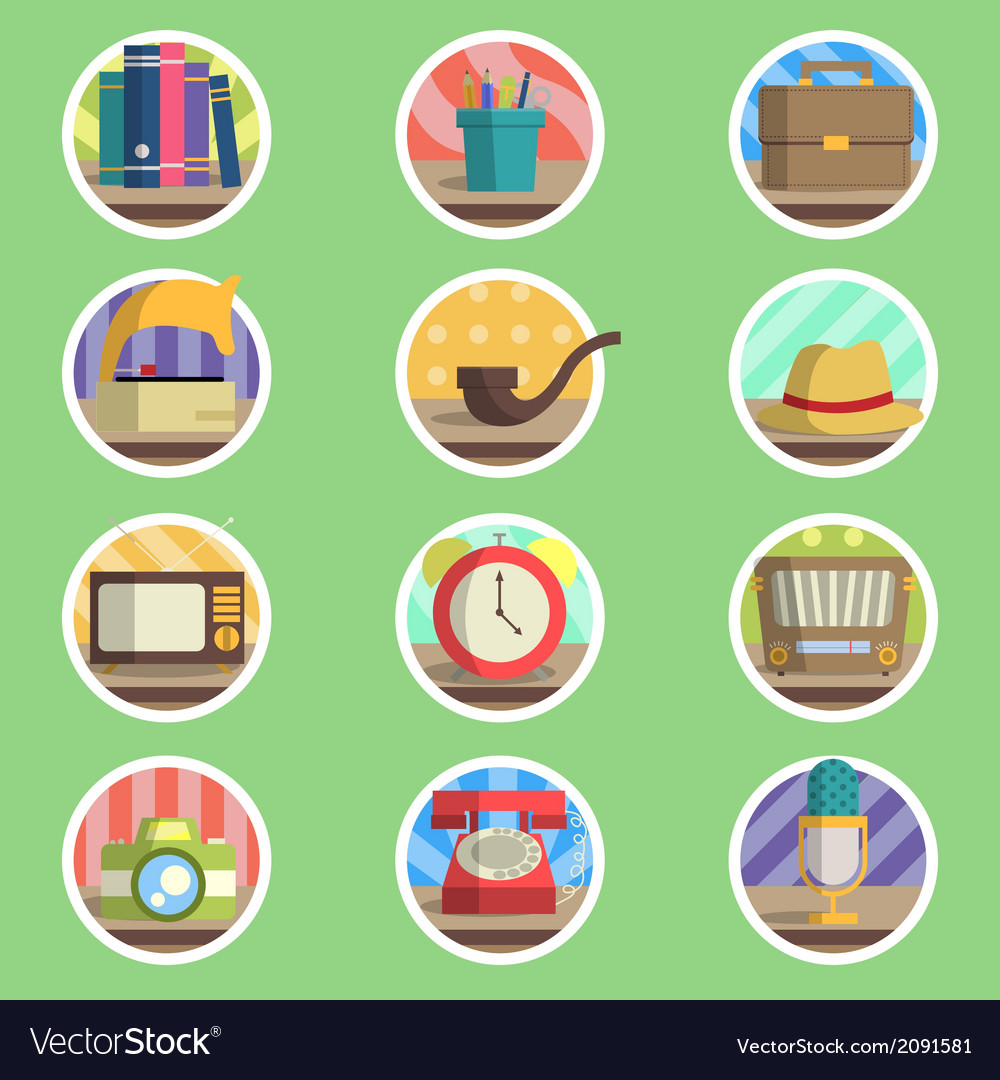 Vintage item flat icon vector | Price: 1 Credit (USD $1)