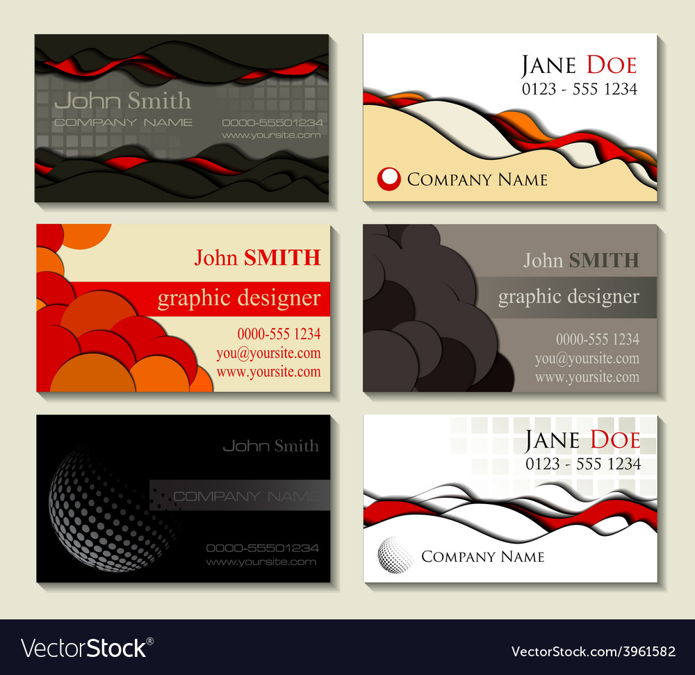 Abstract business cards kit of six designs with cu vector | Price: 1 Credit (USD $1)