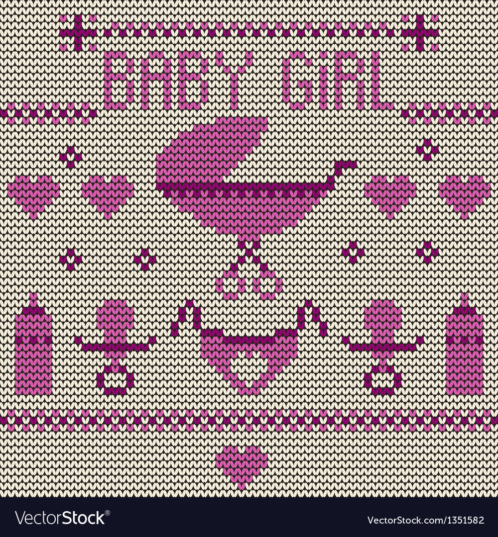 Baby girl knitted background vector | Price: 1 Credit (USD $1)