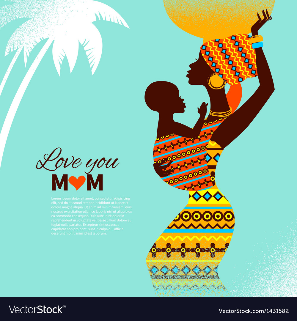 Beautiful silhouette of african mother and baby vector | Price: 1 Credit (USD $1)