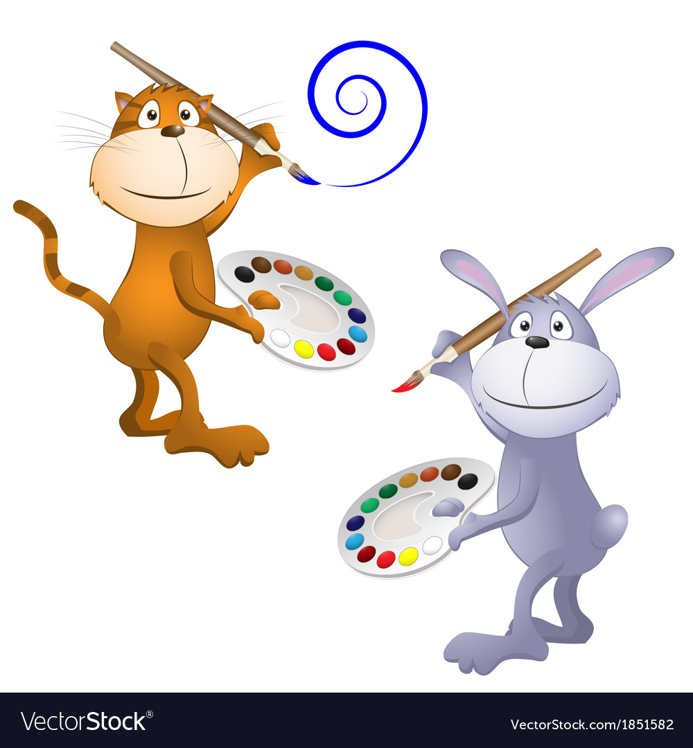 Cat and rabbit vector | Price: 1 Credit (USD $1)