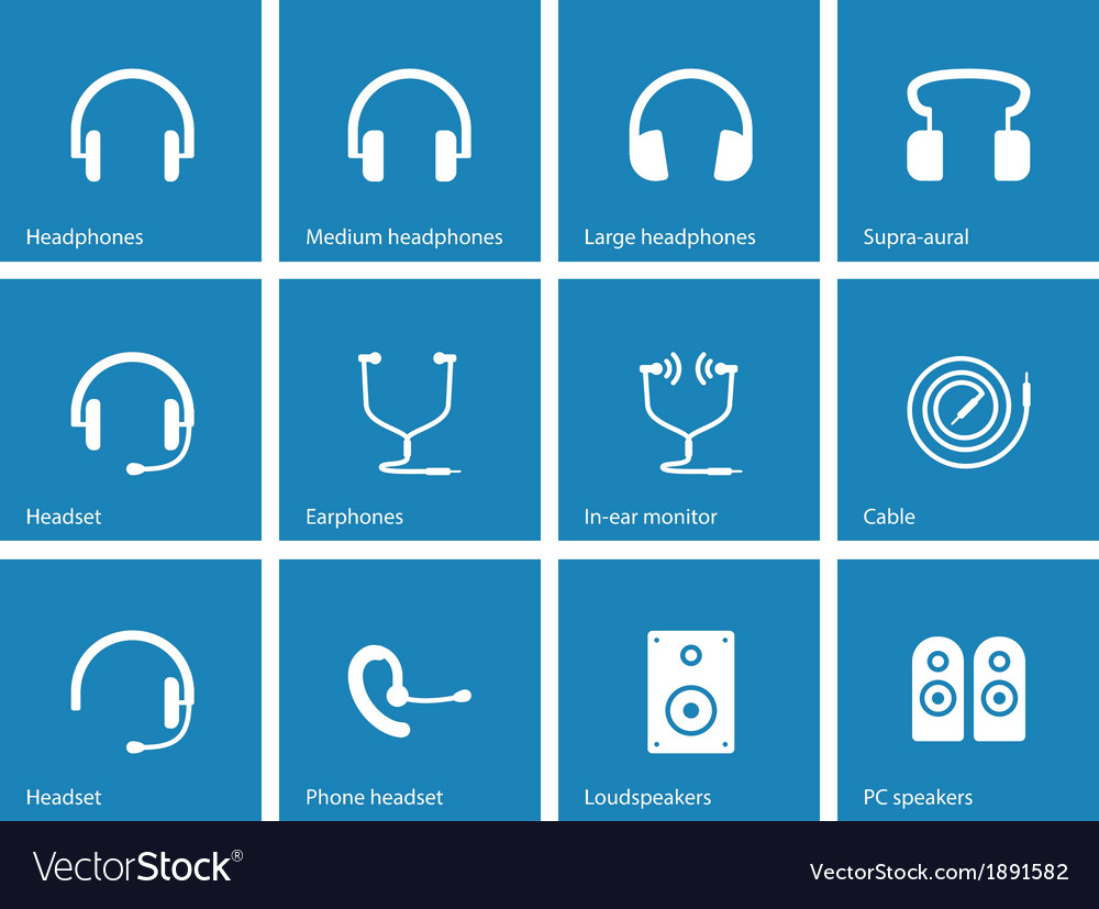 Earphones and speakers icons on blue background vector | Price: 1 Credit (USD $1)
