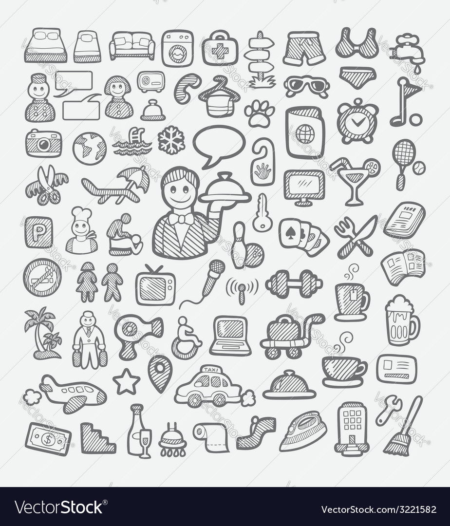 Hotel icons hand drawing sketch style vector | Price: 1 Credit (USD $1)