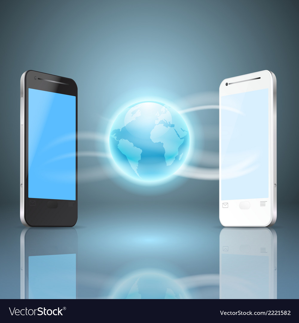Phones and the globe vector | Price: 1 Credit (USD $1)