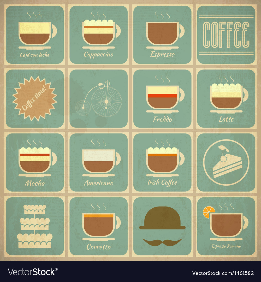 Set of retro coffee labels vector | Price: 1 Credit (USD $1)