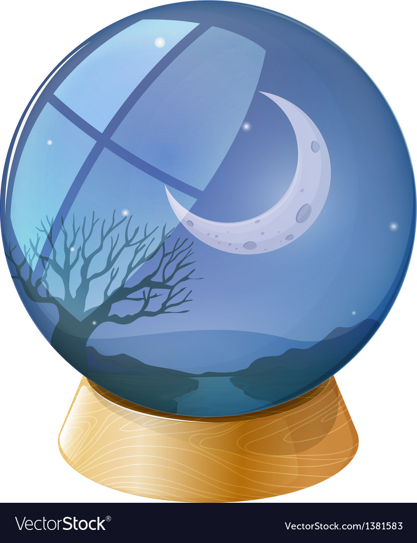 A crystal ball with a moon vector | Price: 1 Credit (USD $1)