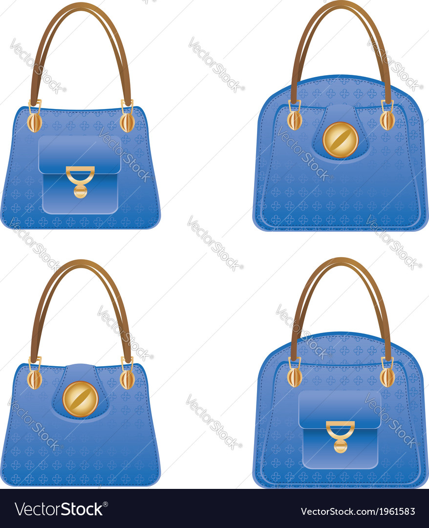 Blue handbags vector | Price: 1 Credit (USD $1)