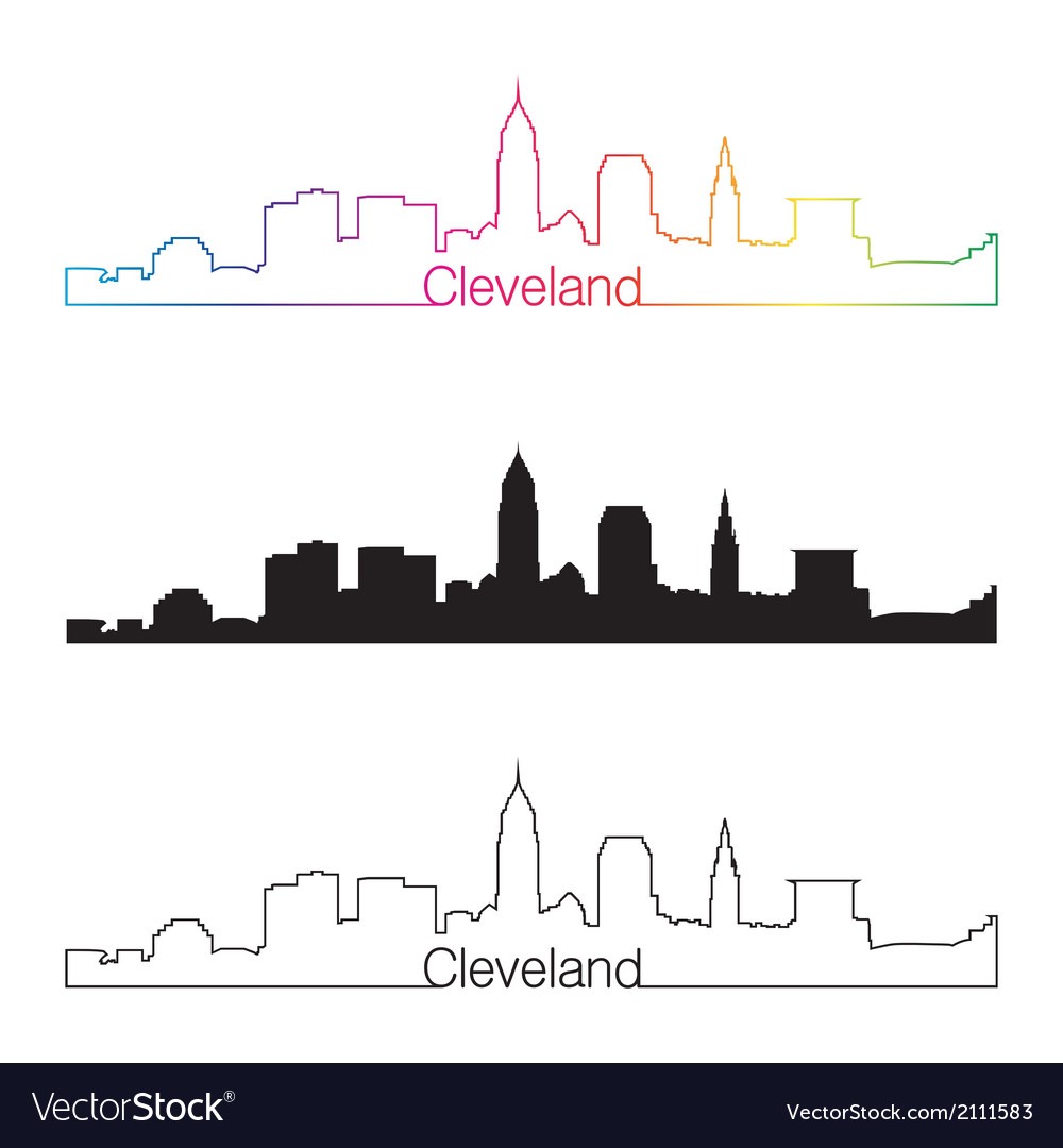 Cleveland skyline linear style with rainbow vector | Price: 1 Credit (USD $1)
