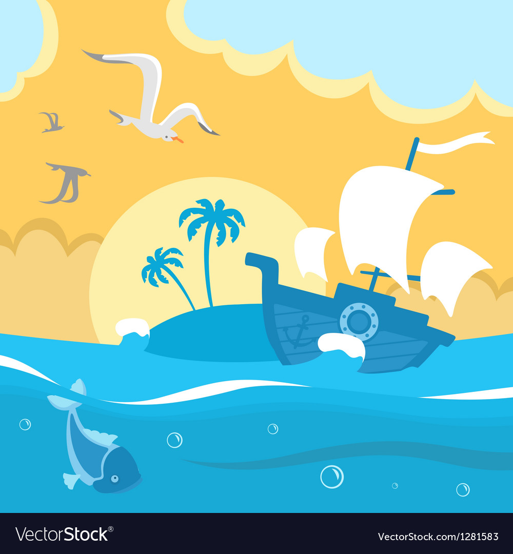 Island in the ocean vector | Price: 1 Credit (USD $1)
