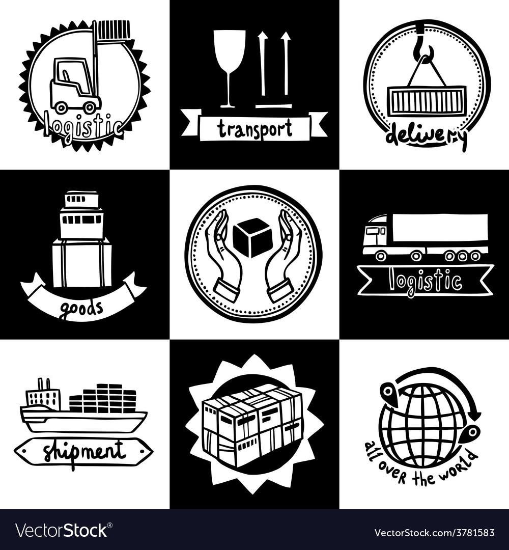 Logistic emblems set vector | Price: 1 Credit (USD $1)
