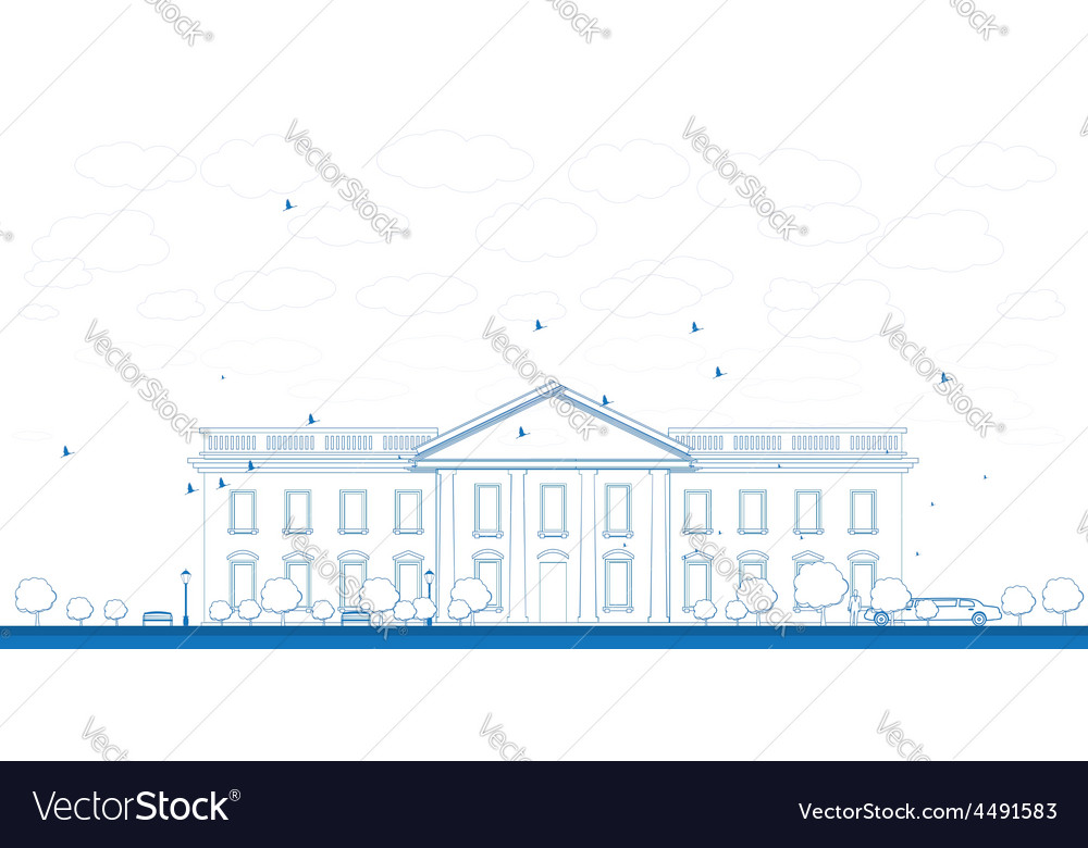 Outline white house washington dc vector | Price: 1 Credit (USD $1)