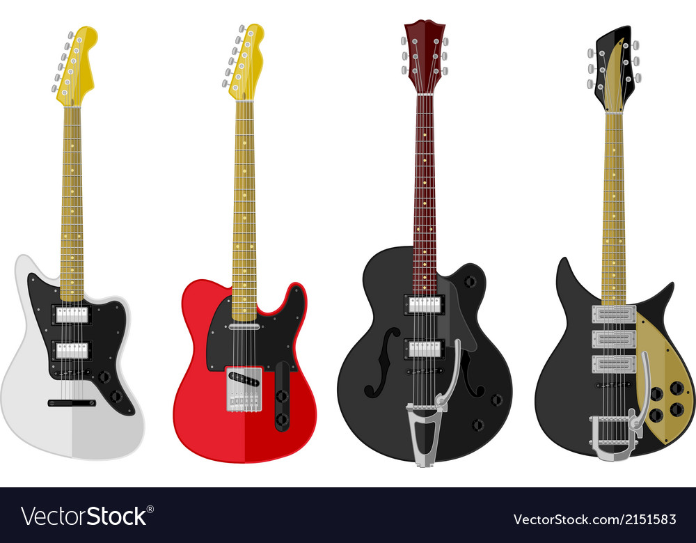 Set of isolated vintage guitars vector | Price: 1 Credit (USD $1)